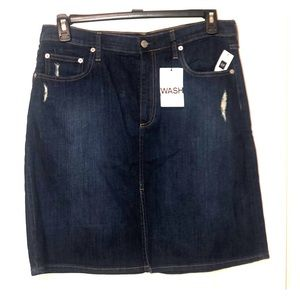Gap Dark Wash Distressed Denim Skirt NWT